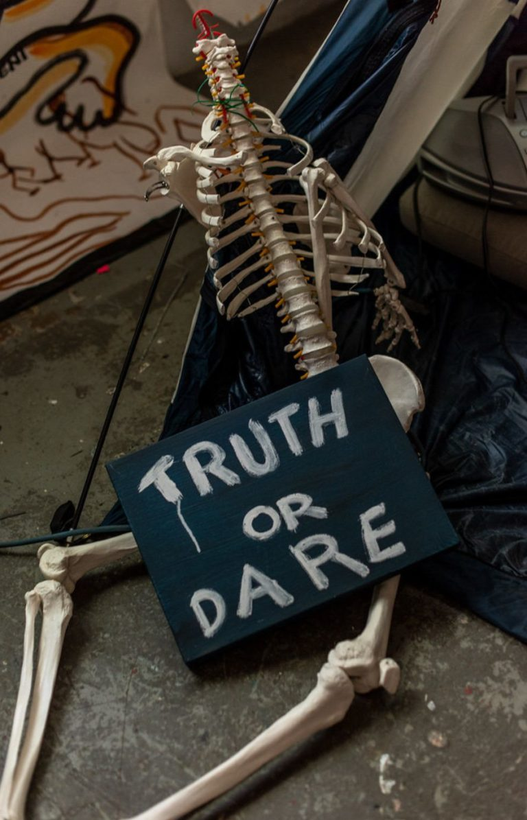 its all truth or dare, detail from installation