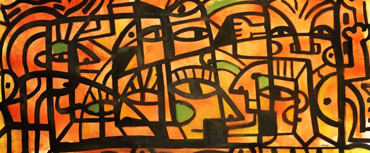 "wildlife at sunrise Ink, acrylic, crayon on paper 17 x 30"""