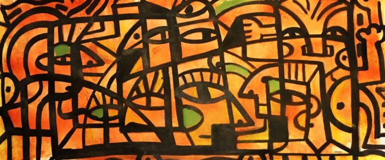 wildlife at sunrise Ink, acrylic, crayon on paper 17 x 30