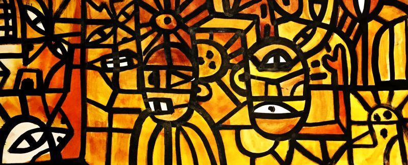 """wildlife at sunset ink and acrylic on paper. 14 x 30"""""""